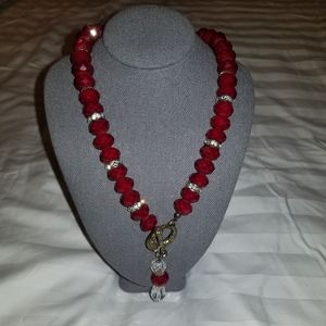 Swarovski crystal & red necklace and earring set.